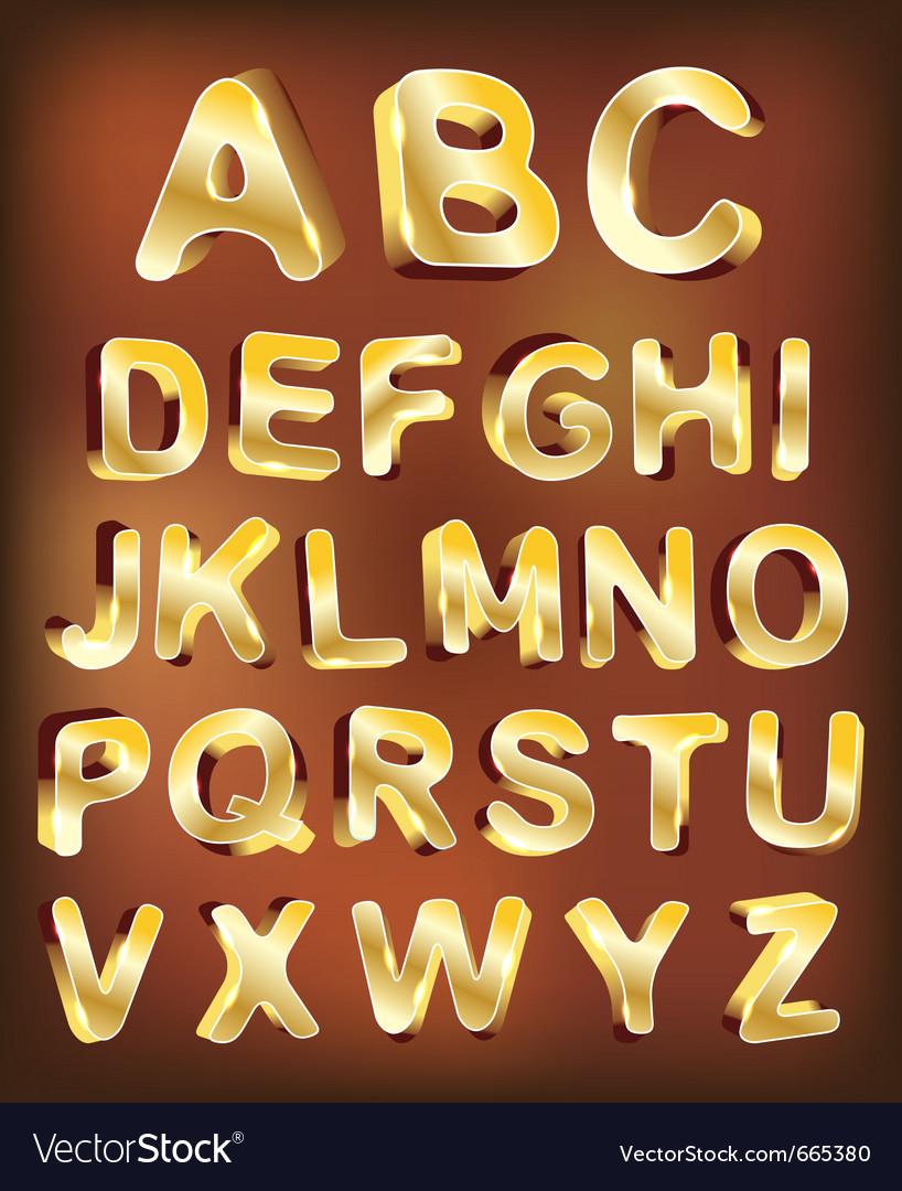3d gold alphabet for design vector | Price: 1 Credit (USD $1)