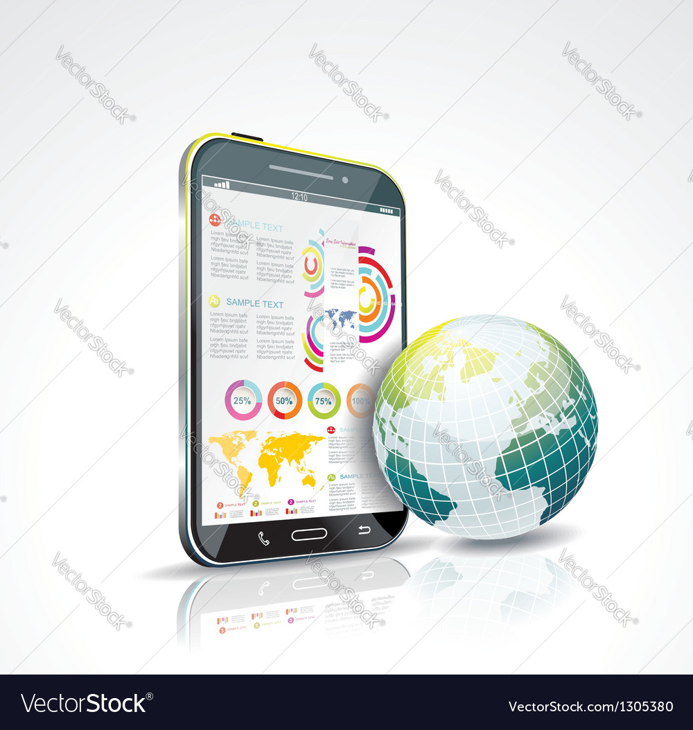 A smart phone and globe vector | Price: 1 Credit (USD $1)