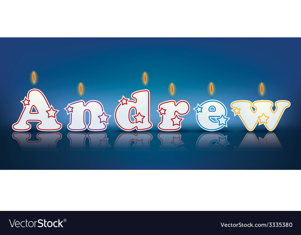 Andrew written with burning candles vector | Price: 1 Credit (USD $1)