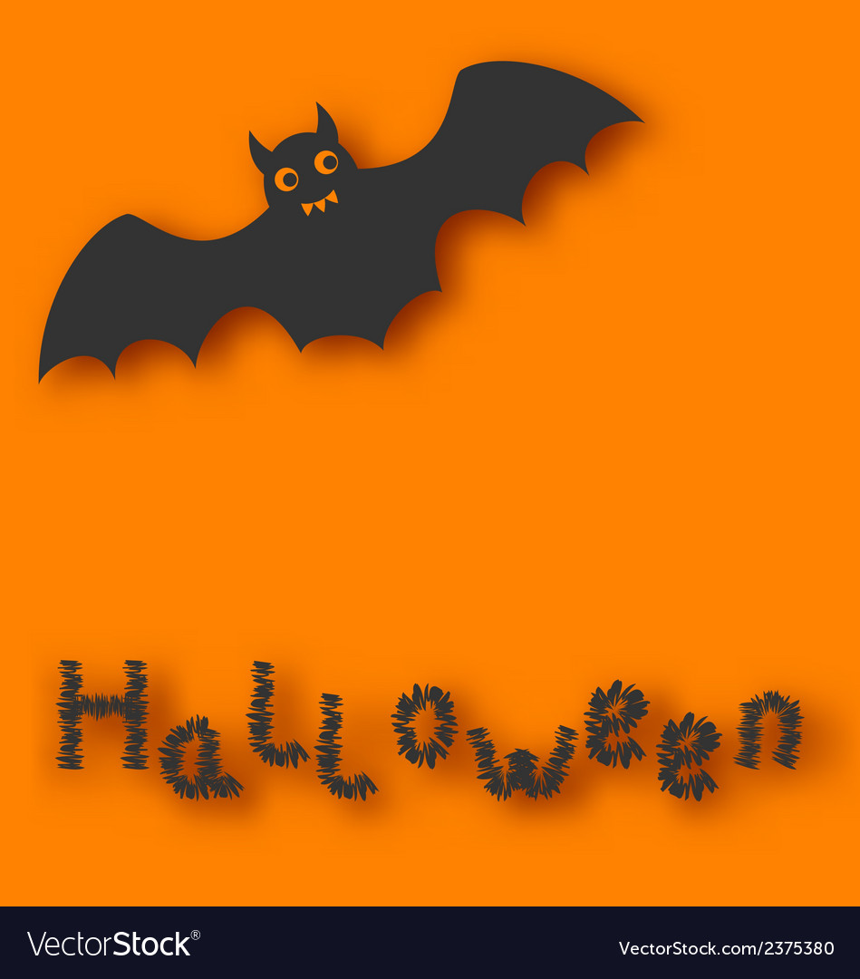 Cartoon bat with with text on orange background vector | Price: 1 Credit (USD $1)