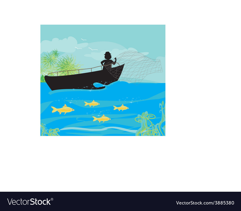 Fisherman and fishing boat vector | Price: 1 Credit (USD $1)
