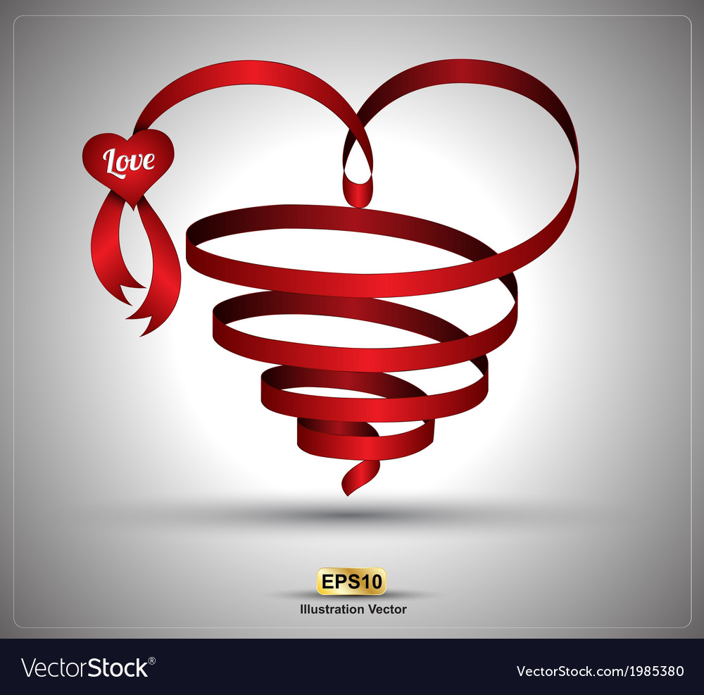 Heart ribbon twist vector | Price: 1 Credit (USD $1)