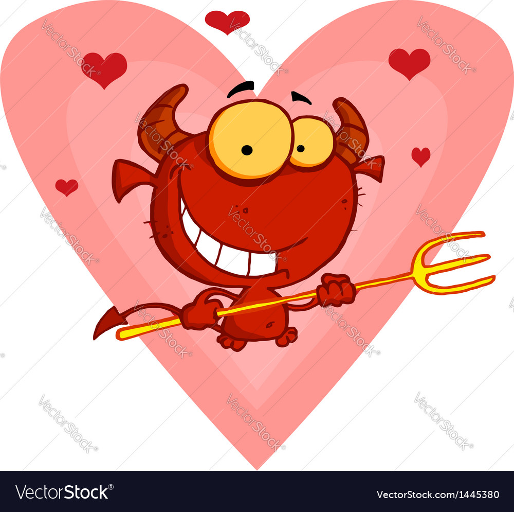 Hearts over a devil guy holding a pitchfork vector | Price: 1 Credit (USD $1)