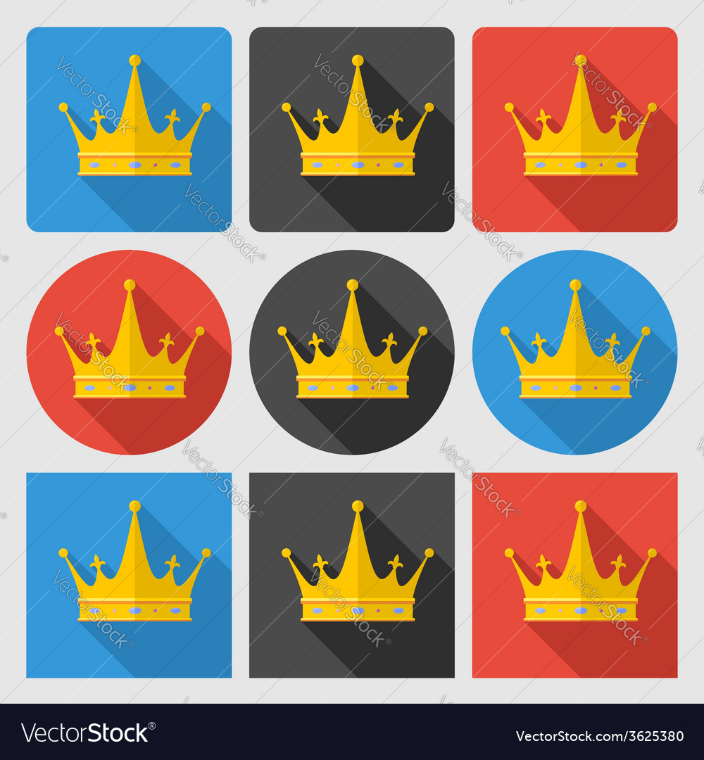 Set icons with gold crown on round and square vector | Price: 1 Credit (USD $1)