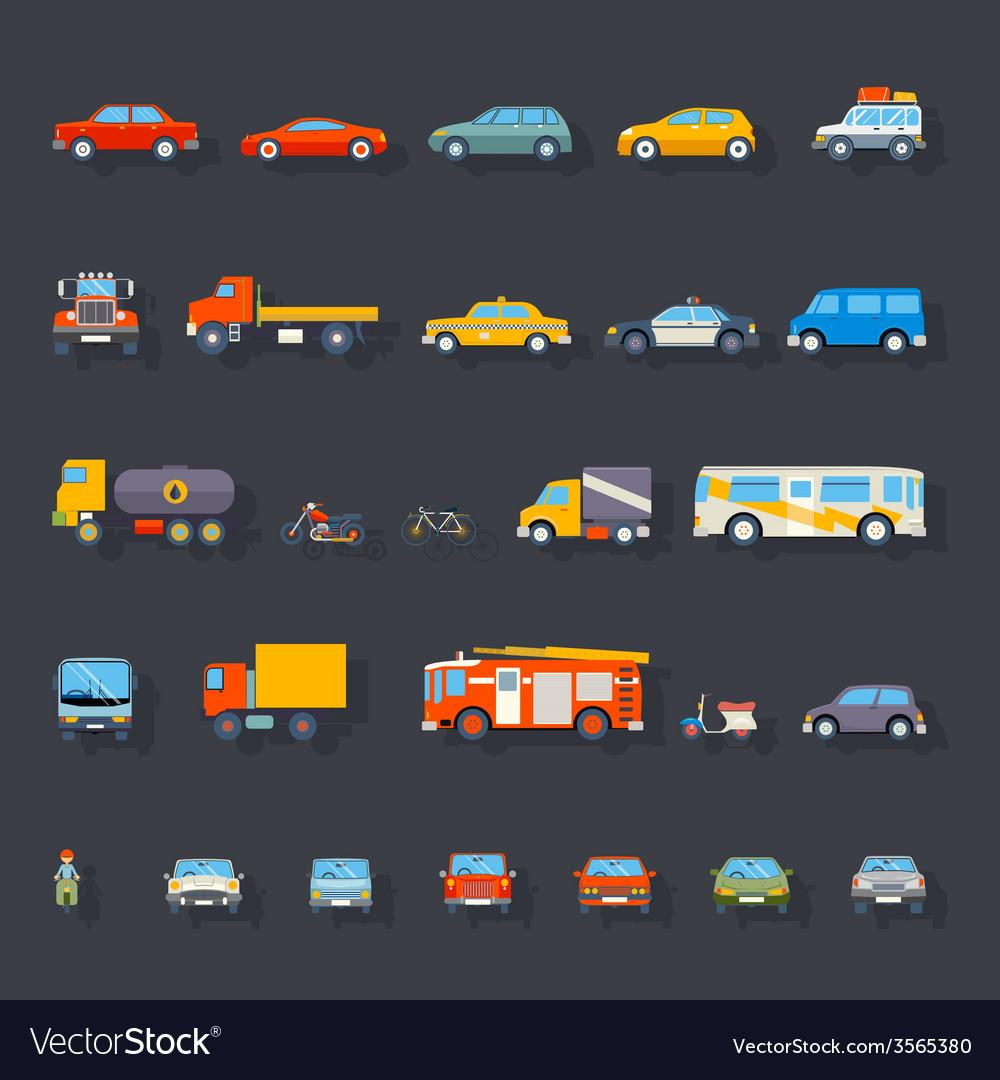 Stylish retro car line icons set isolated vector