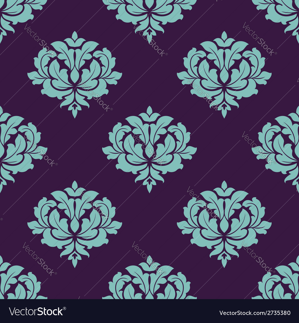 Turquoise colored floral seamless pattern vector | Price: 1 Credit (USD $1)