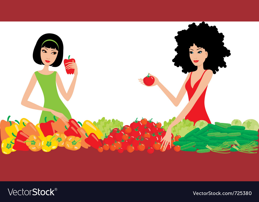 Two women buy vegetables vector | Price: 1 Credit (USD $1)