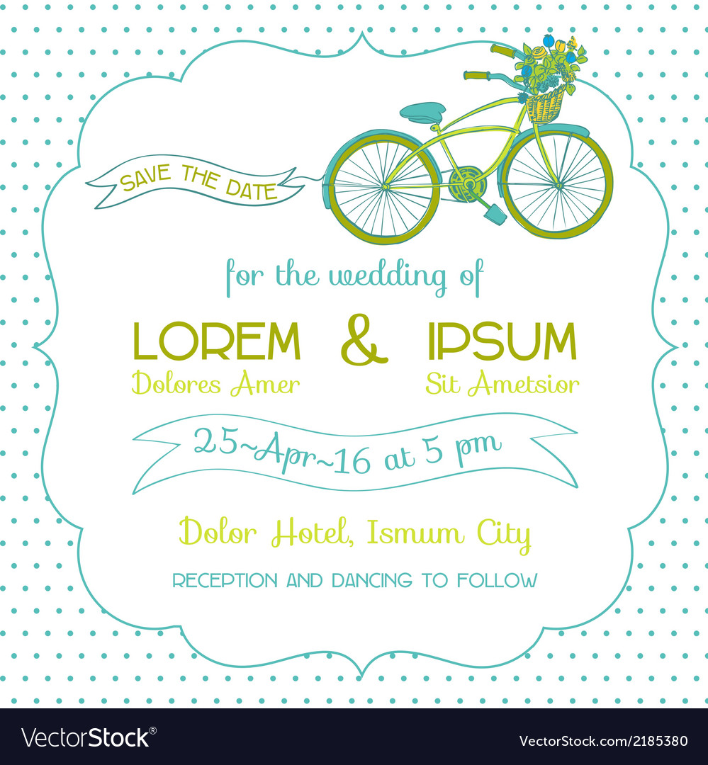 Wedding invitation card - vintage bicycle theme vector | Price: 1 Credit (USD $1)
