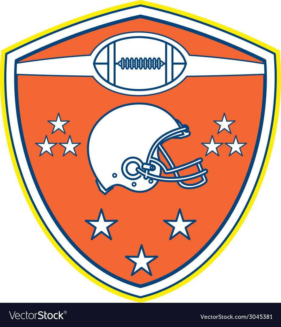 American football helmet stars shield retro vector | Price: 1 Credit (USD $1)