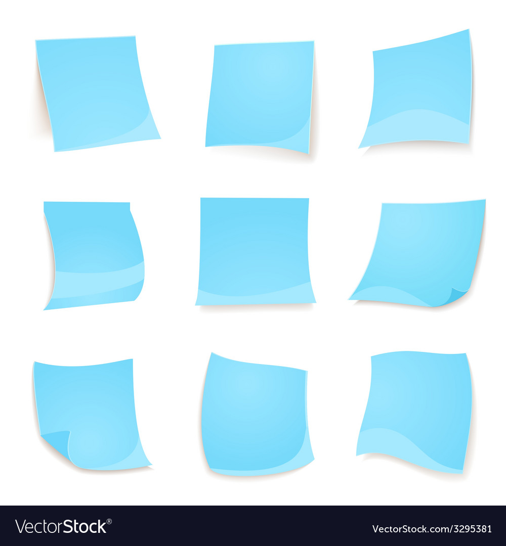 Blue stick note isolated on white background vector | Price: 1 Credit (USD $1)