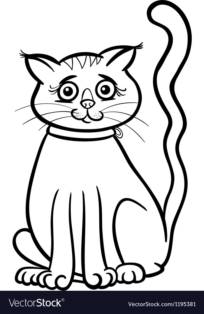 Female cat cartoon for coloring book vector | Price: 1 Credit (USD $1)