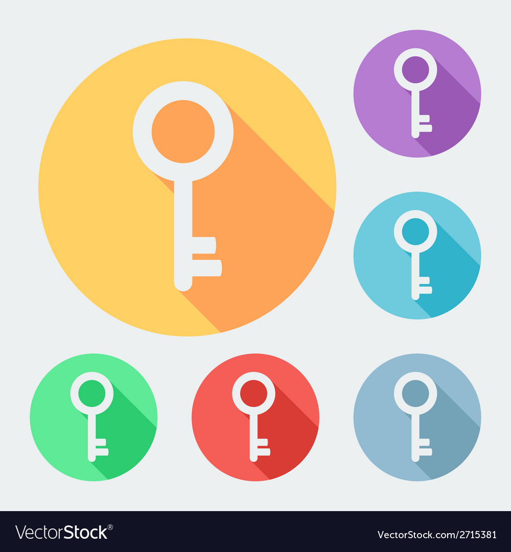 Flat style key icon with long shadow six colors vector | Price: 1 Credit (USD $1)