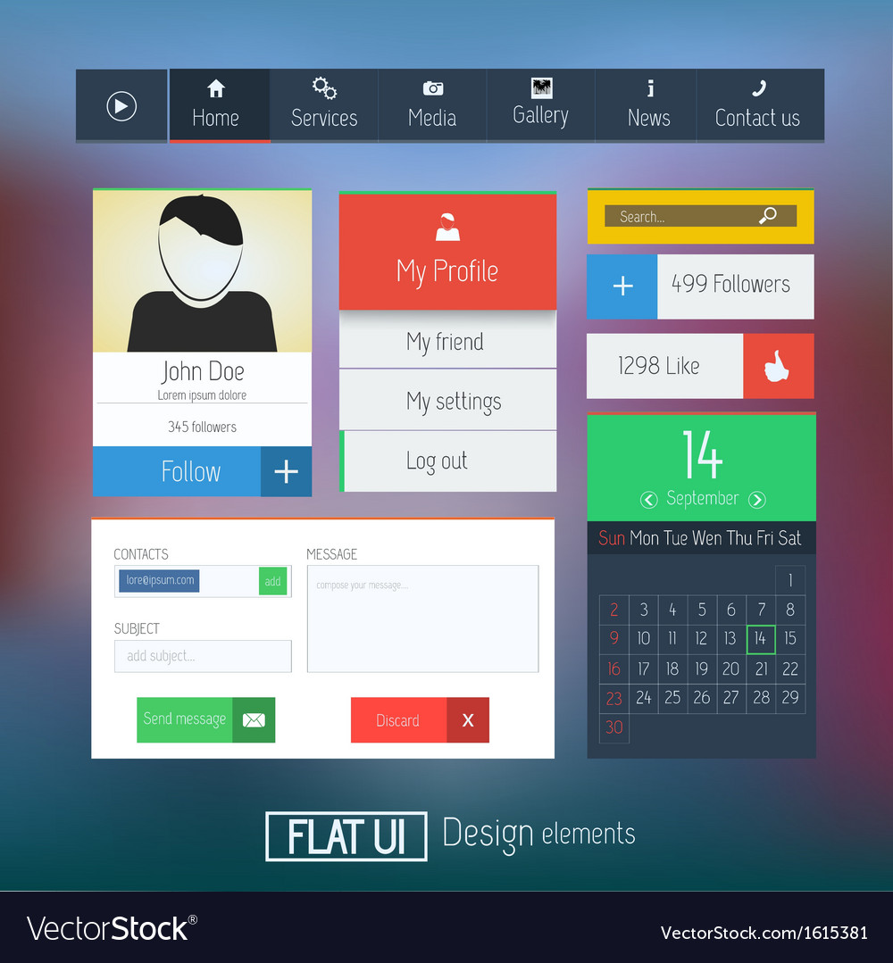Flat web design elements 6 vector | Price: 1 Credit (USD $1)