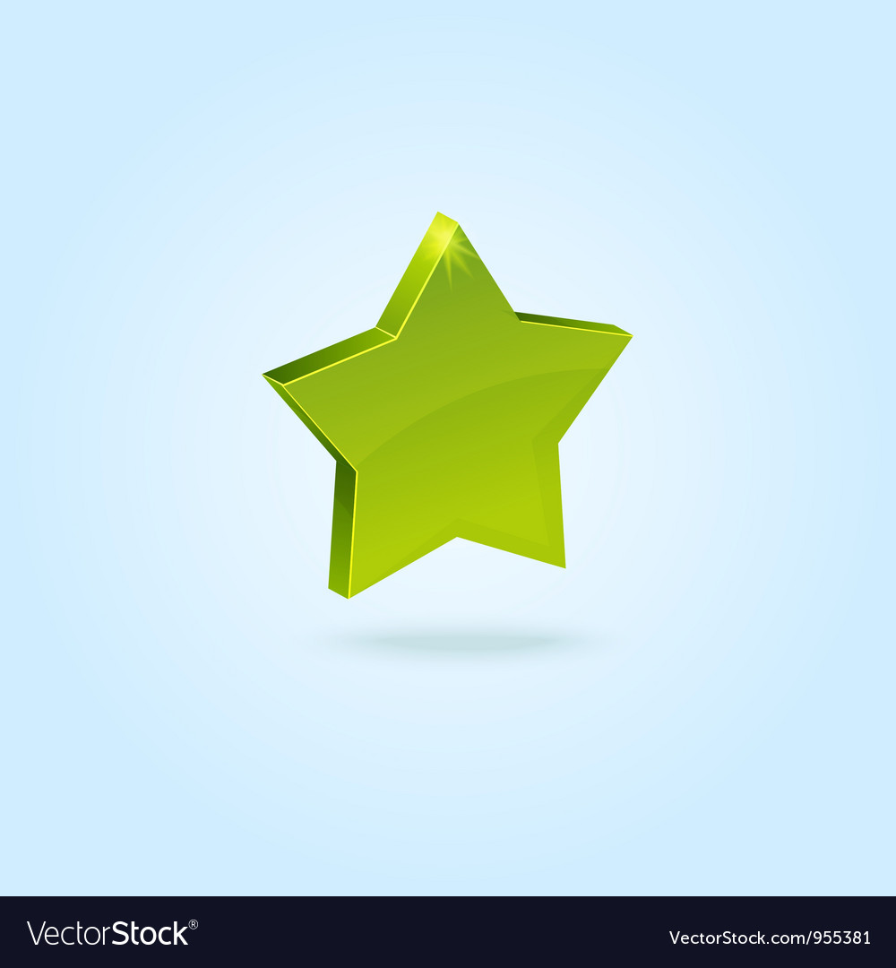 Green star symbol isolated on blue background vector | Price: 1 Credit (USD $1)
