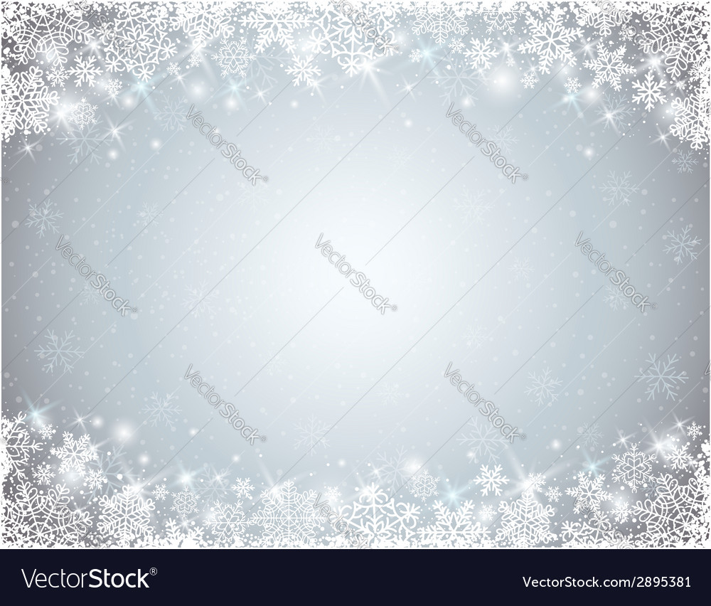 Grey background with frame of snowflakes vector | Price: 1 Credit (USD $1)