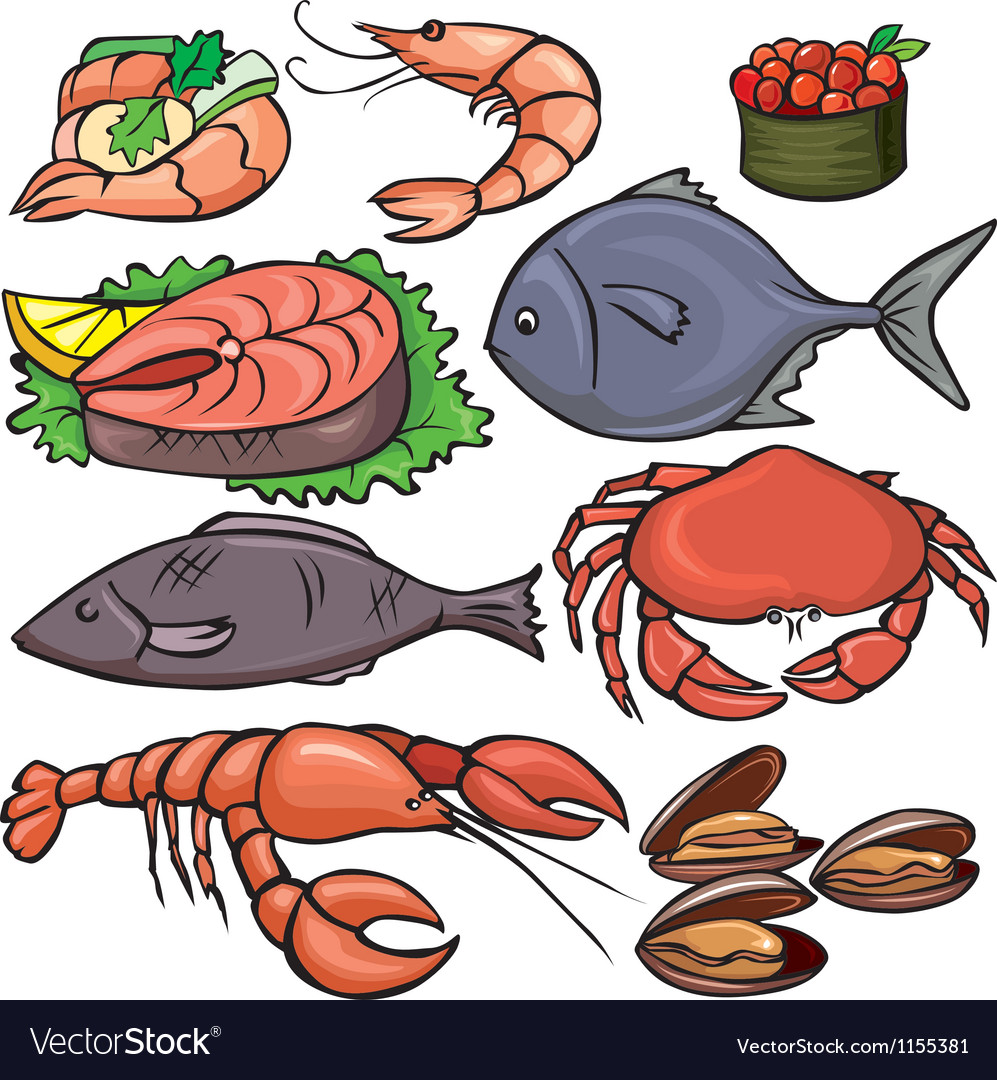 Seafood icons set vector | Price: 3 Credit (USD $3)