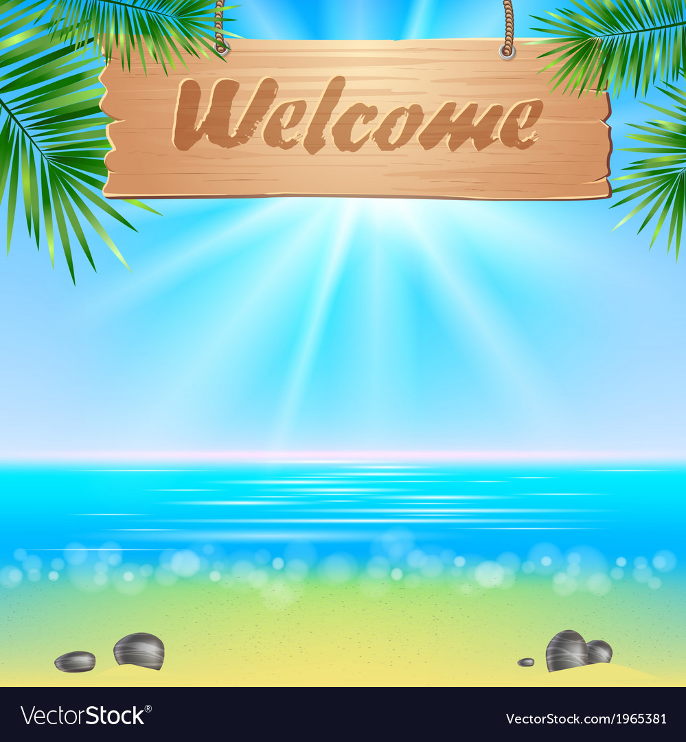 Summerl seaside view poster vector | Price: 1 Credit (USD $1)