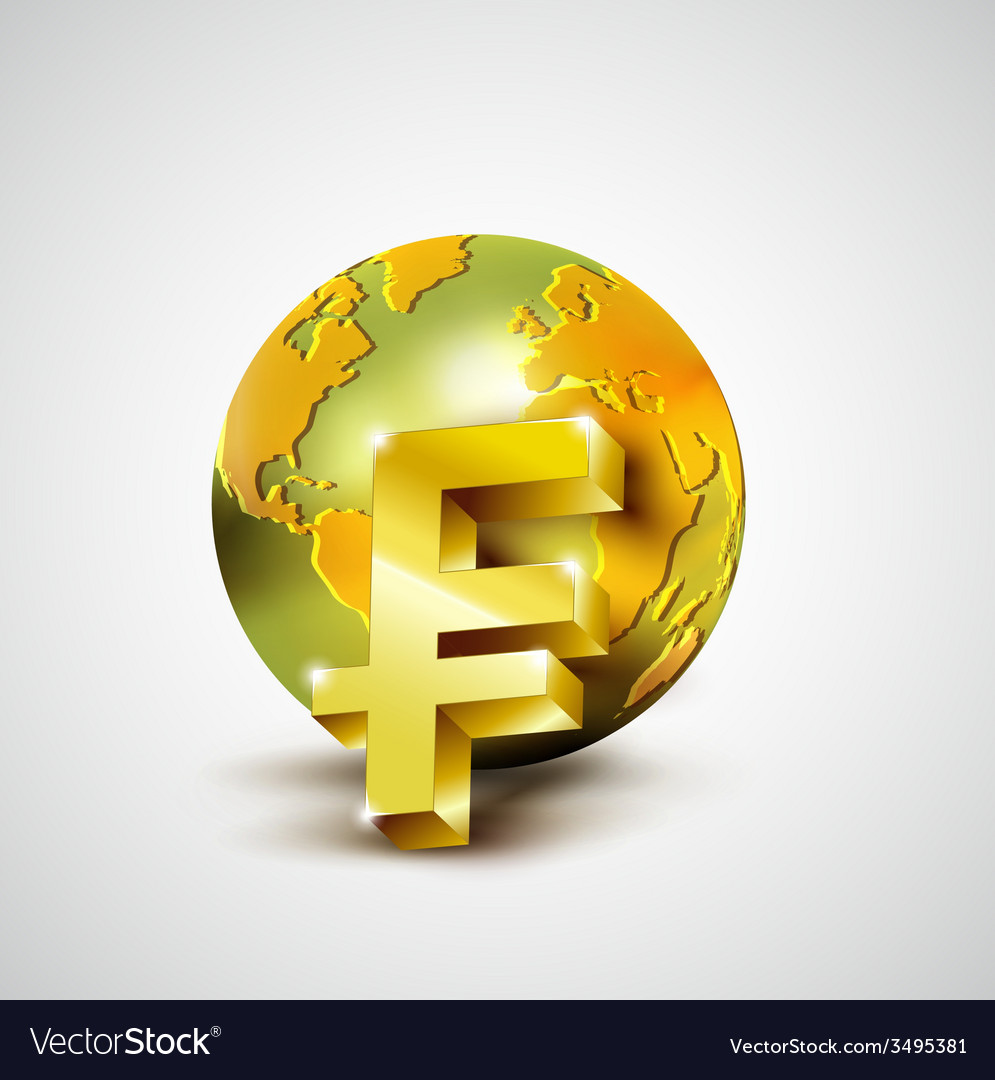 World economic concept with gold world and franc vector | Price: 1 Credit (USD $1)