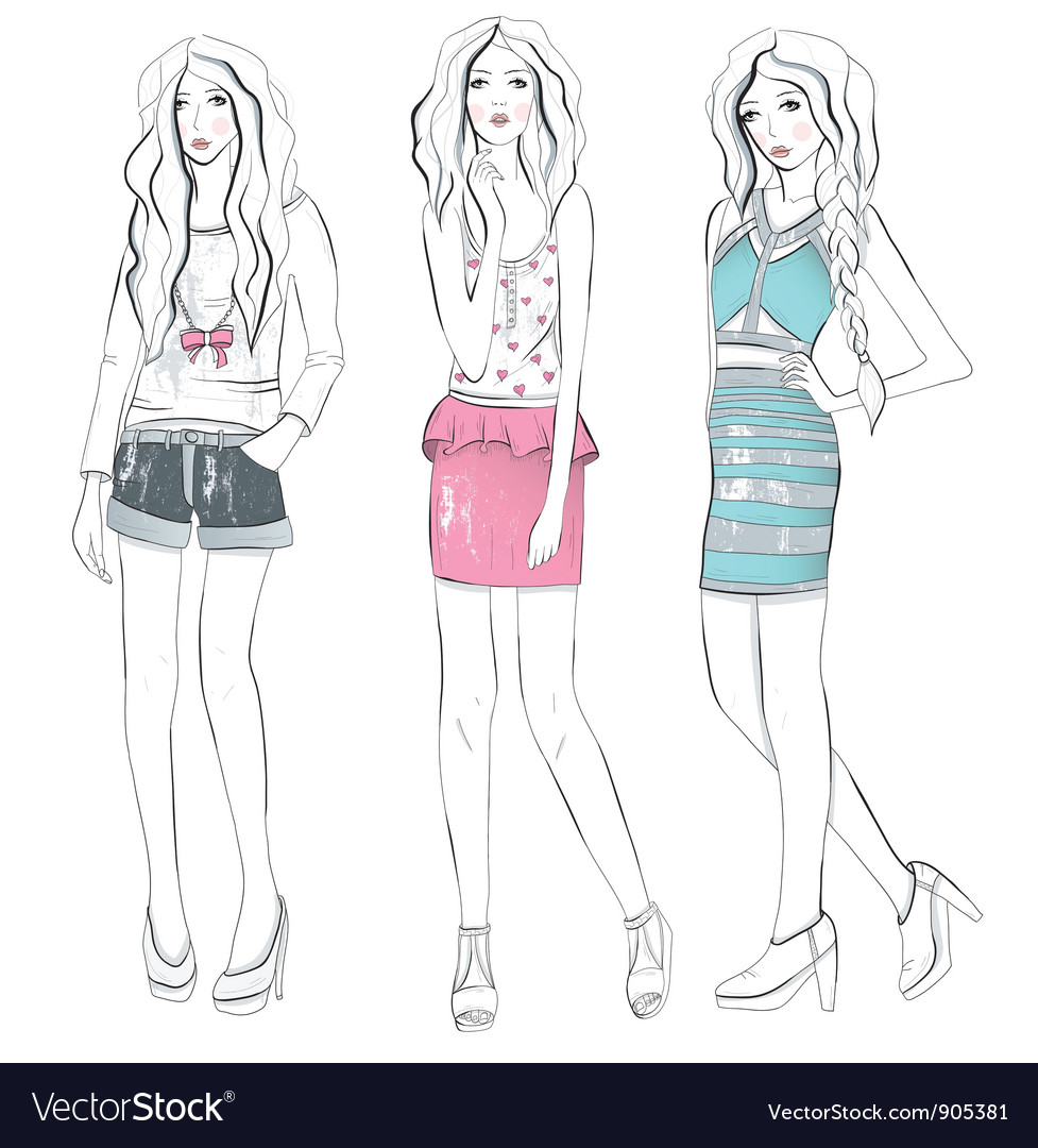 Young fashion girls in fashionable clothes posing vector | Price: 3 Credit (USD $3)
