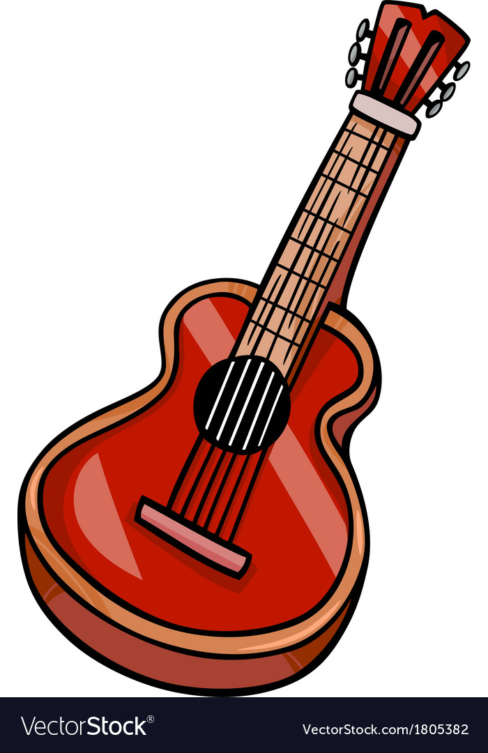 Acoustic guitar cartoon clip art vector | Price: 1 Credit (USD $1)