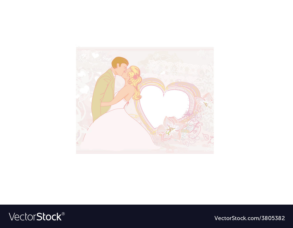 Elegant wedding invitation with kissing wedding vector | Price: 1 Credit (USD $1)