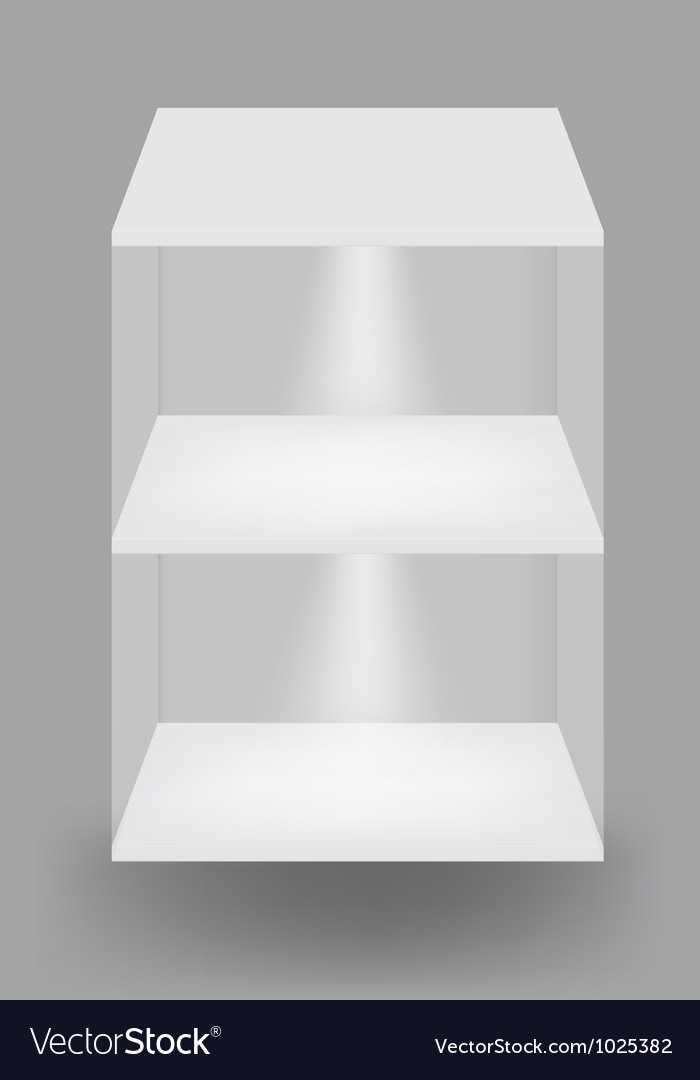 Empty white shelves on light grey background vector | Price: 1 Credit (USD $1)