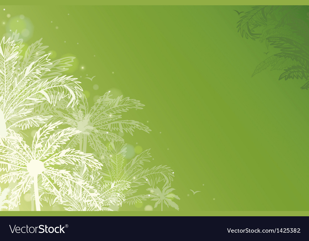Green glowing palm trees horizontal background vector | Price: 1 Credit (USD $1)