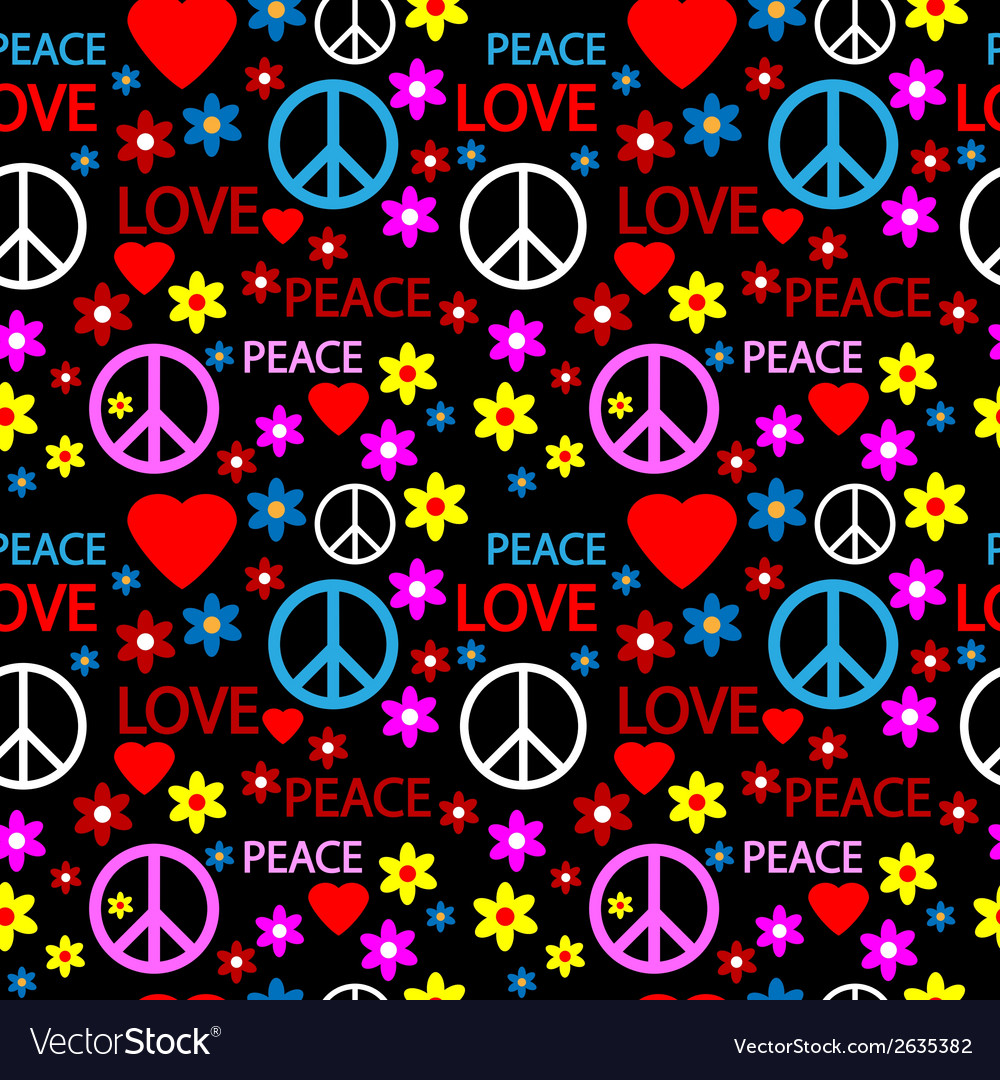 Hippie seamless pattern vector | Price: 1 Credit (USD $1)