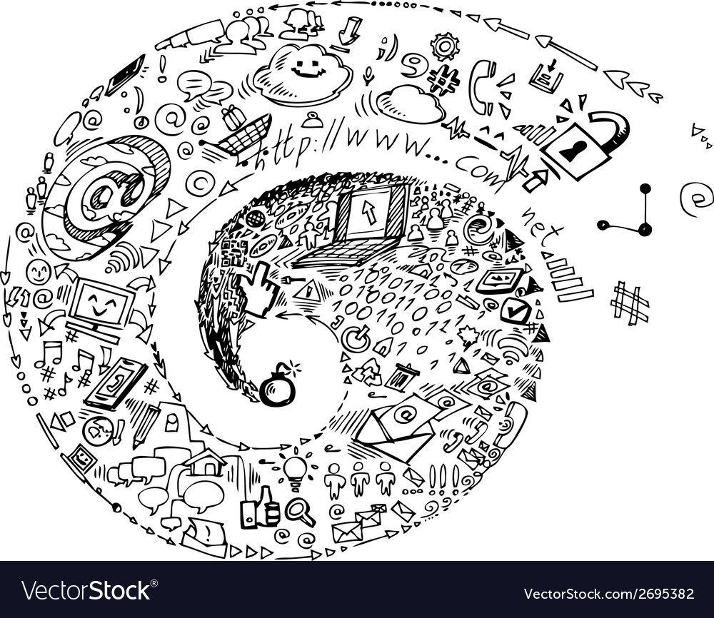 Internet and social network doodles vector | Price: 1 Credit (USD $1)