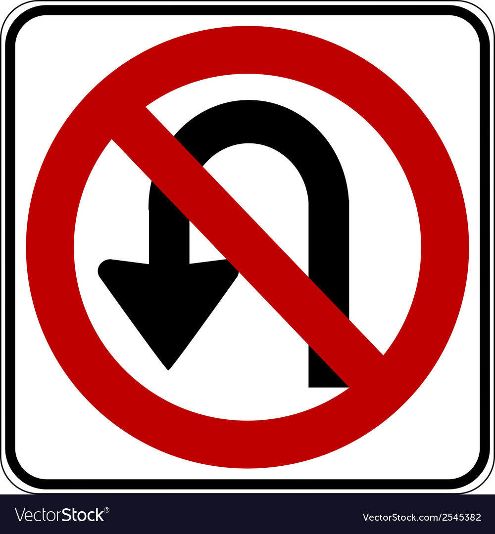 No u turn vector | Price: 1 Credit (USD $1)