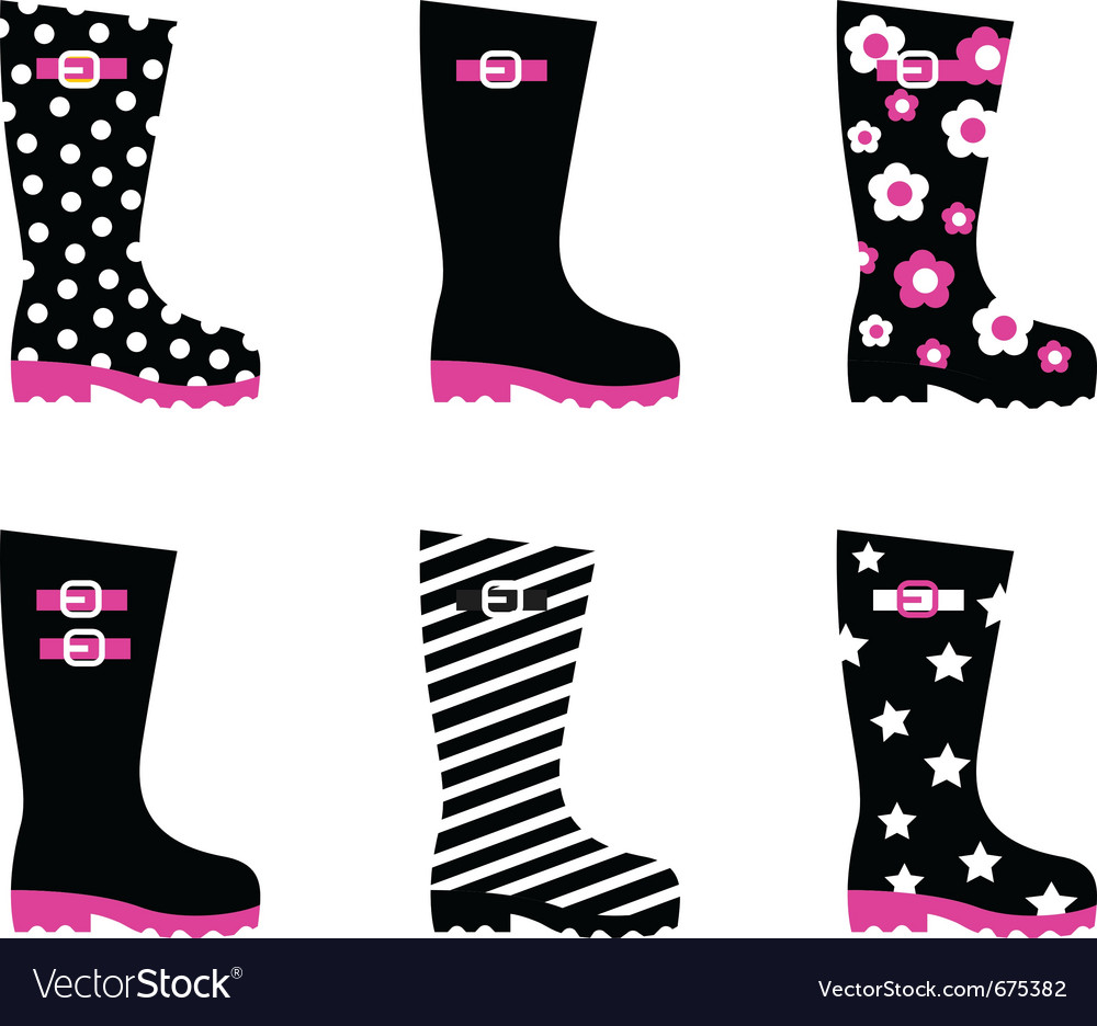 Retro patterned wellington black rain boots vector | Price: 1 Credit (USD $1)
