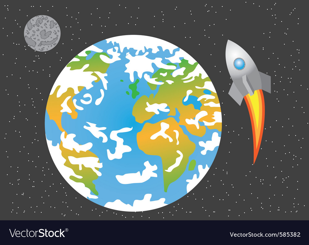 Rocket launched in space vector | Price: 1 Credit (USD $1)