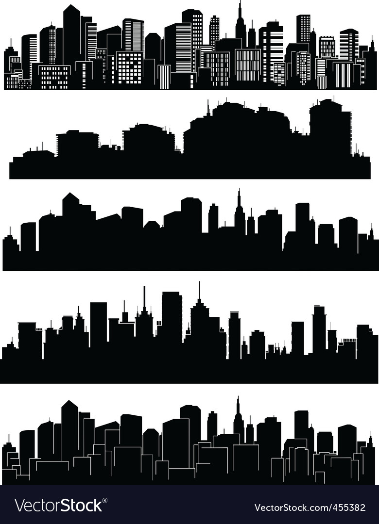 Set of cities silhouettes vector | Price: 1 Credit (USD $1)