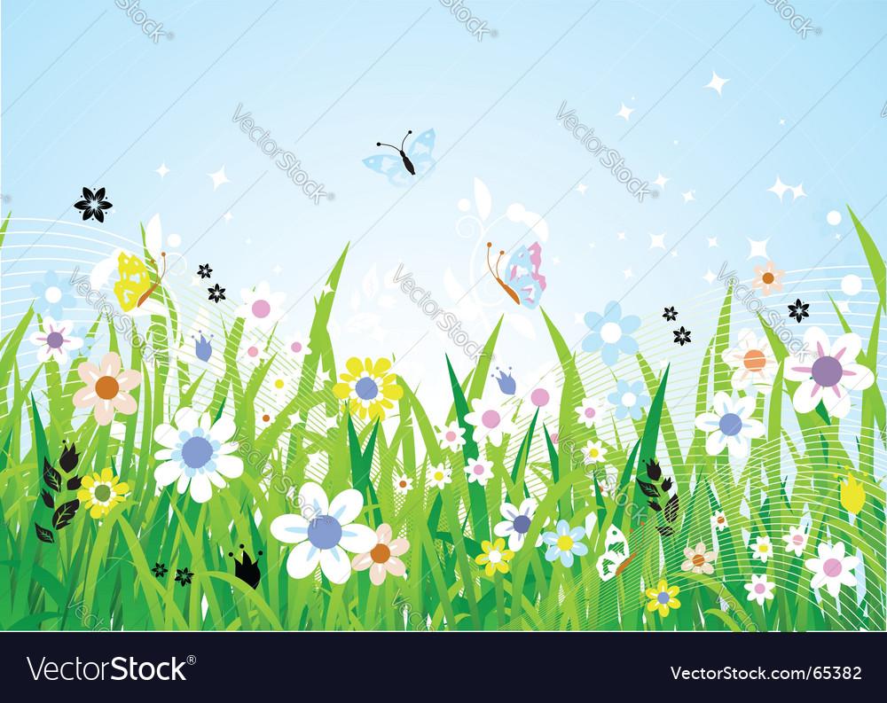 Spring meadow vector | Price: 1 Credit (USD $1)