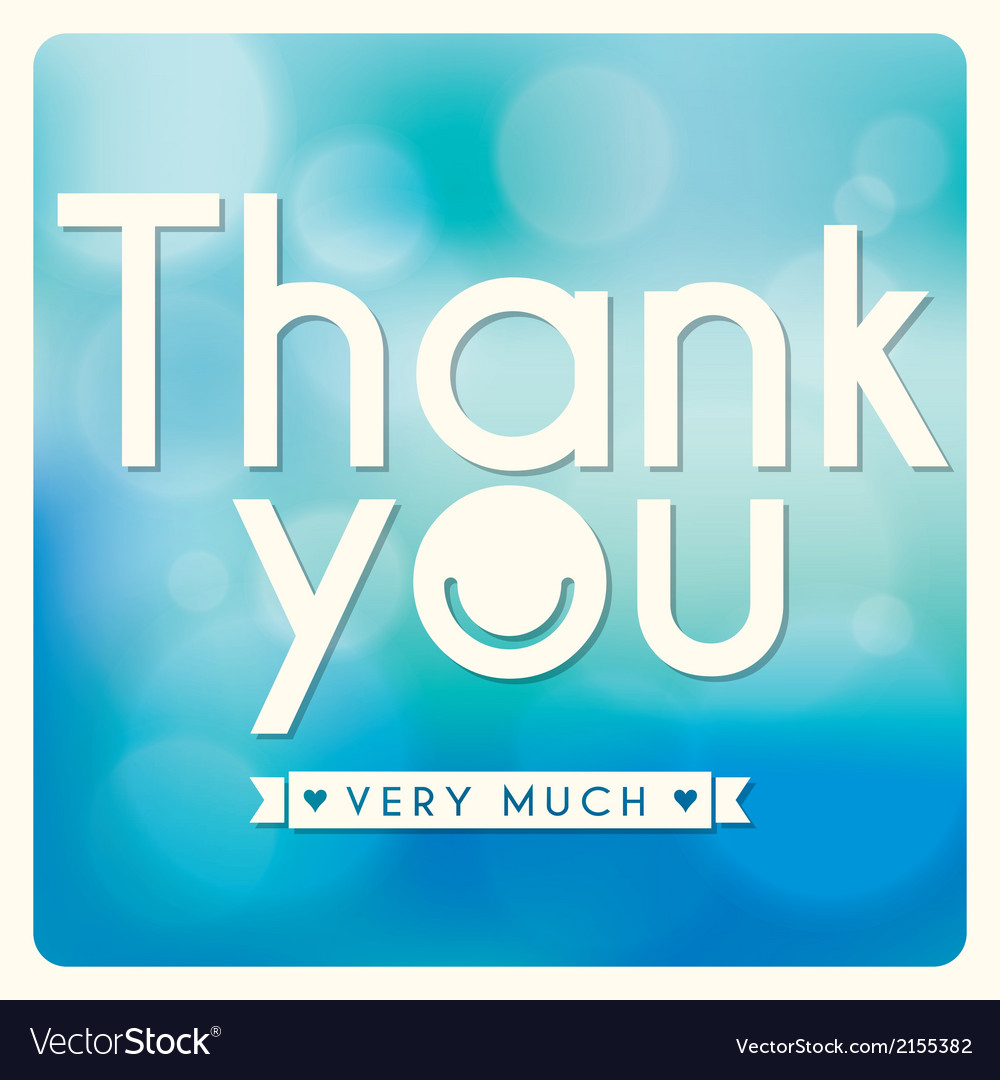 Thank you card design on blue background vector | Price: 1 Credit (USD $1)