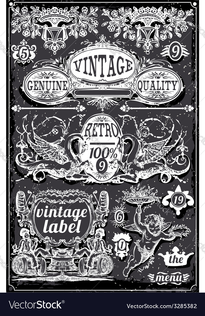 Vintage blackboard banners and labels vector | Price: 3 Credit (USD $3)