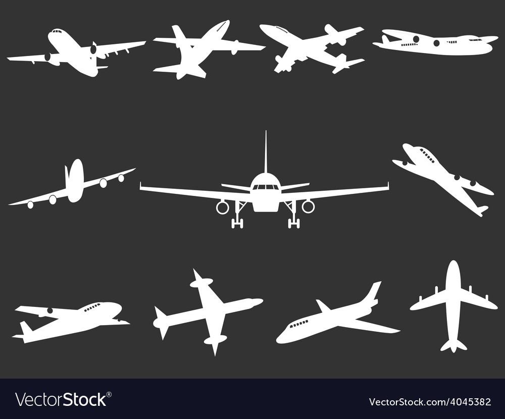 White airplane silhouettes vector | Price: 1 Credit (USD $1)