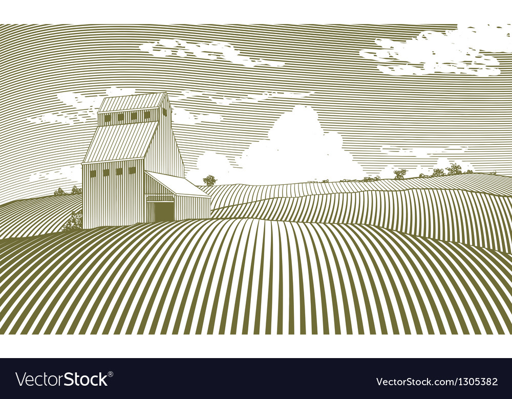 Woodcut grain elevator vector | Price: 1 Credit (USD $1)