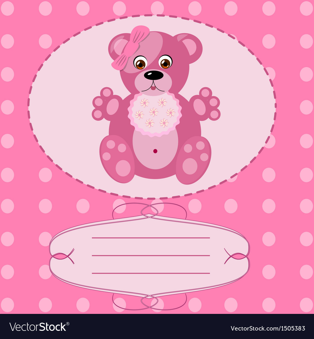 Baby girl greeting card background vector | Price: 1 Credit (USD $1)