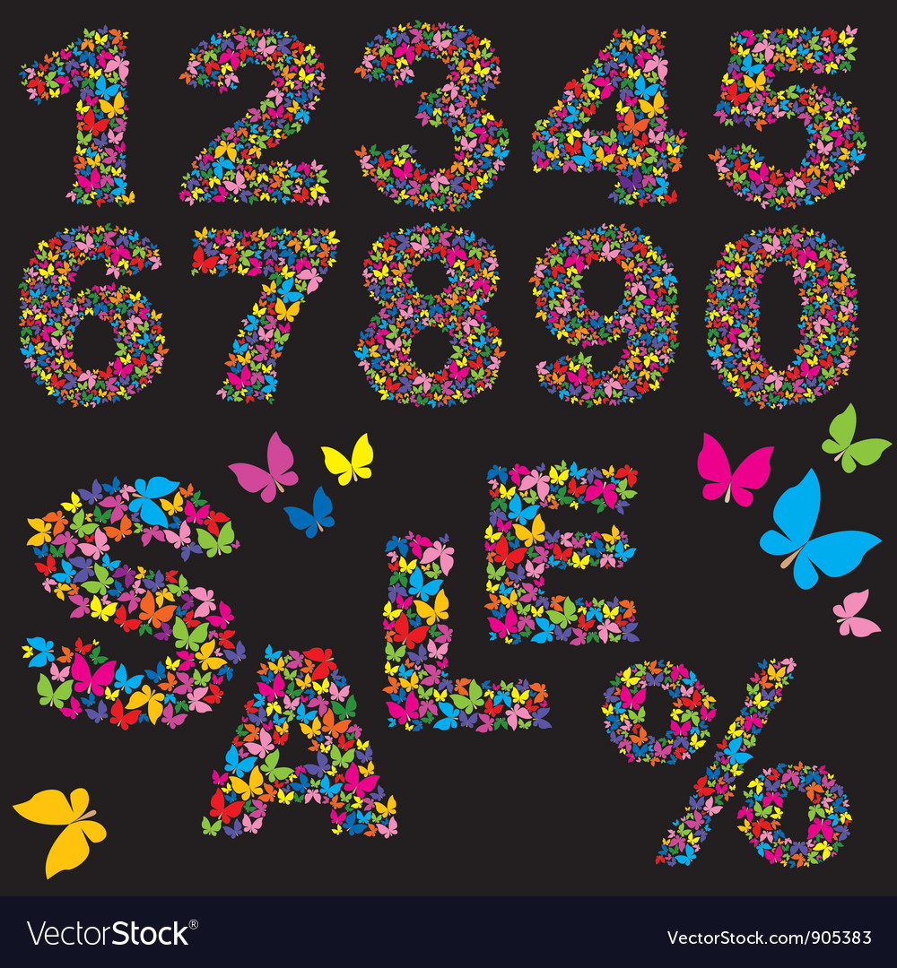 Butterfly numerals vector | Price: 1 Credit (USD $1)