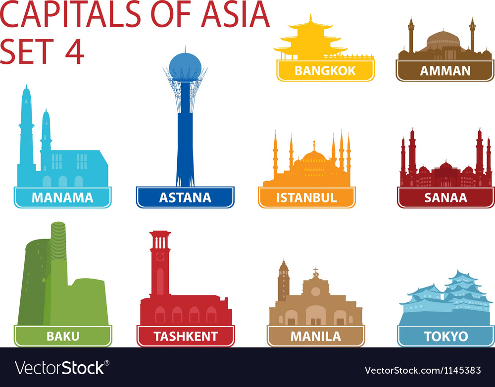 Capitals of asia vector | Price: 1 Credit (USD $1)