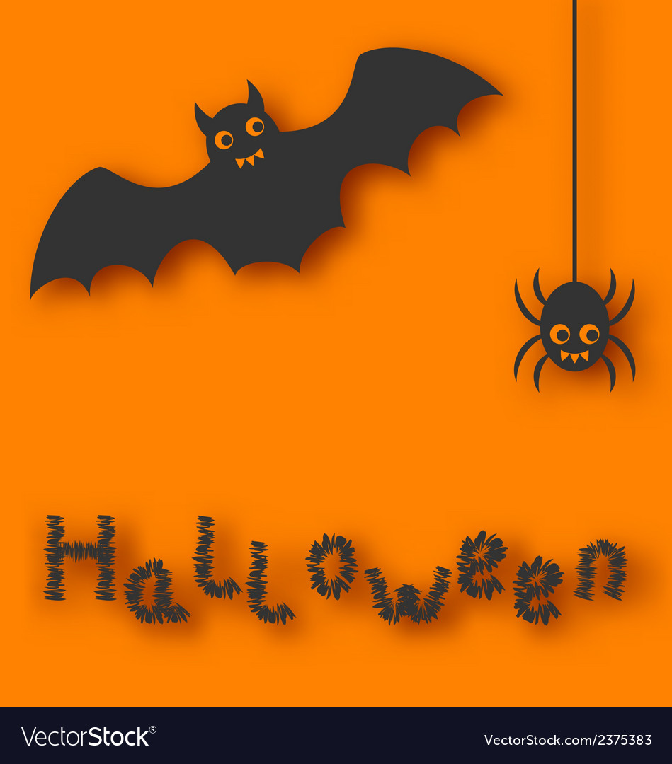 Cartoon bat and spider on orange background vector | Price: 1 Credit (USD $1)
