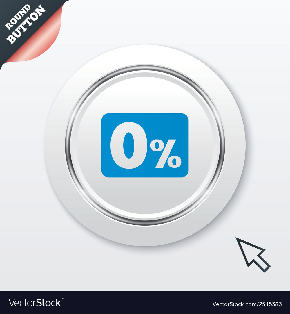 Zero percent sign icon zero credit symbol vector | Price: 1 Credit (USD $1)