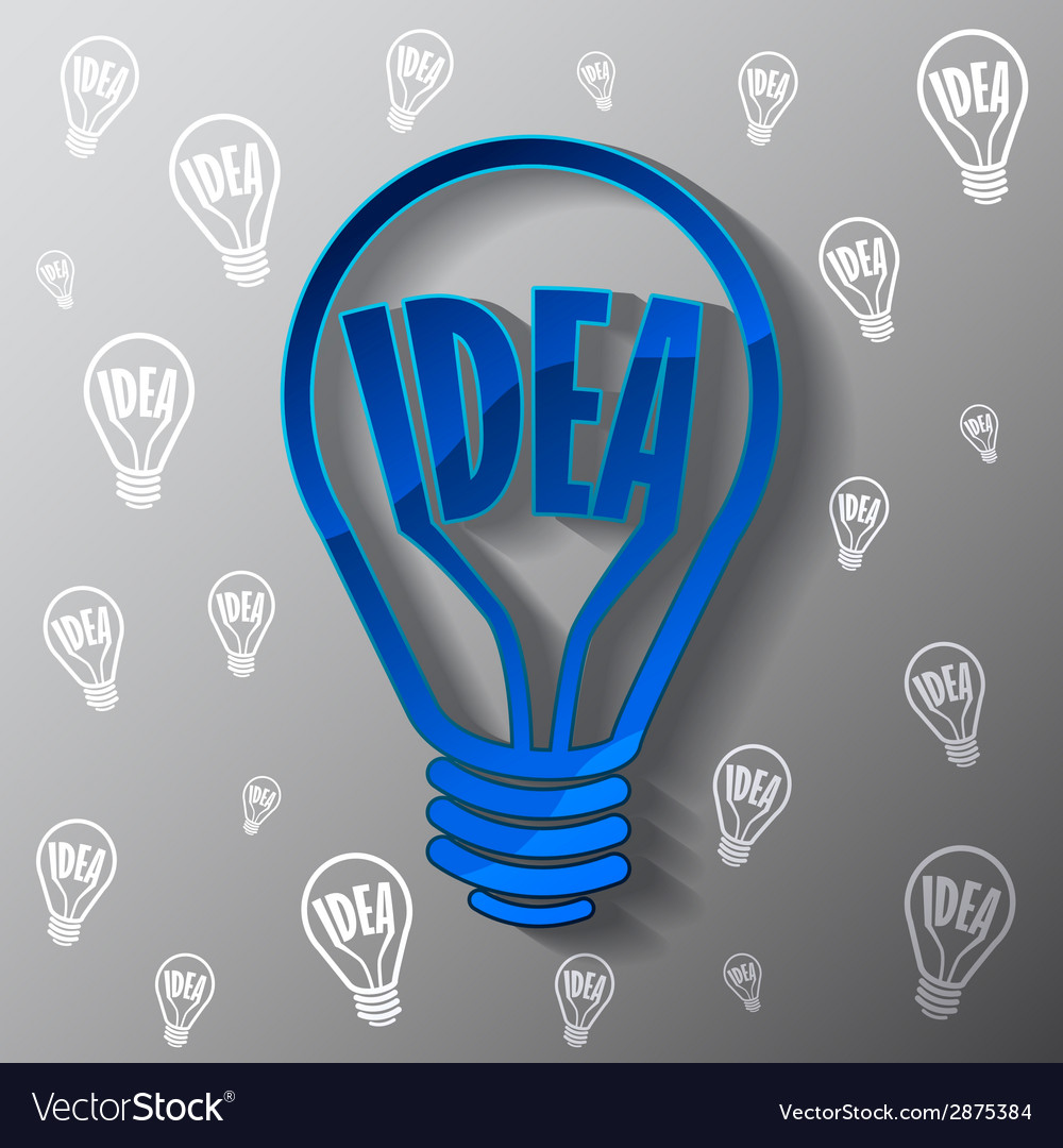Business template with blue bulb idea vector | Price: 1 Credit (USD $1)