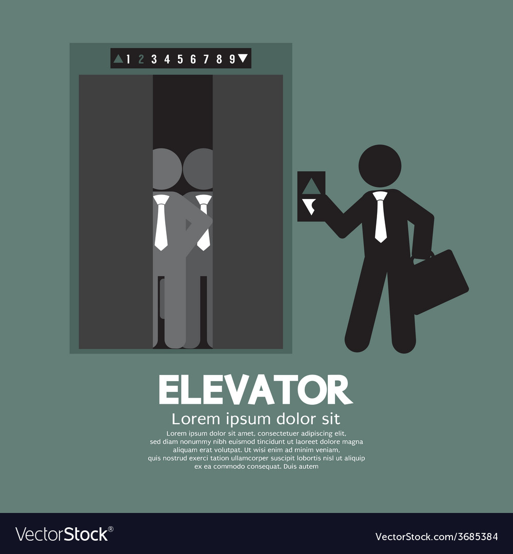 Businessman standing with crowded elevator vector | Price: 1 Credit (USD $1)
