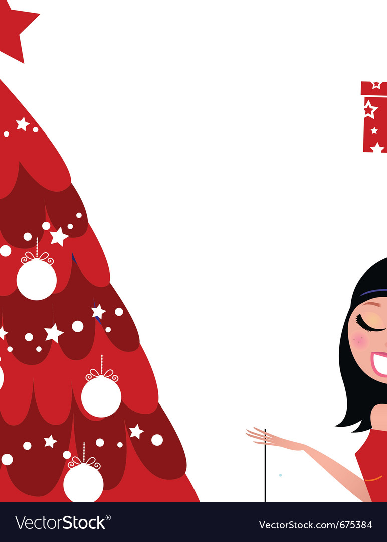 Christmas party - girls preparing christmas tree vector   Price: 1 Credit (USD $1)