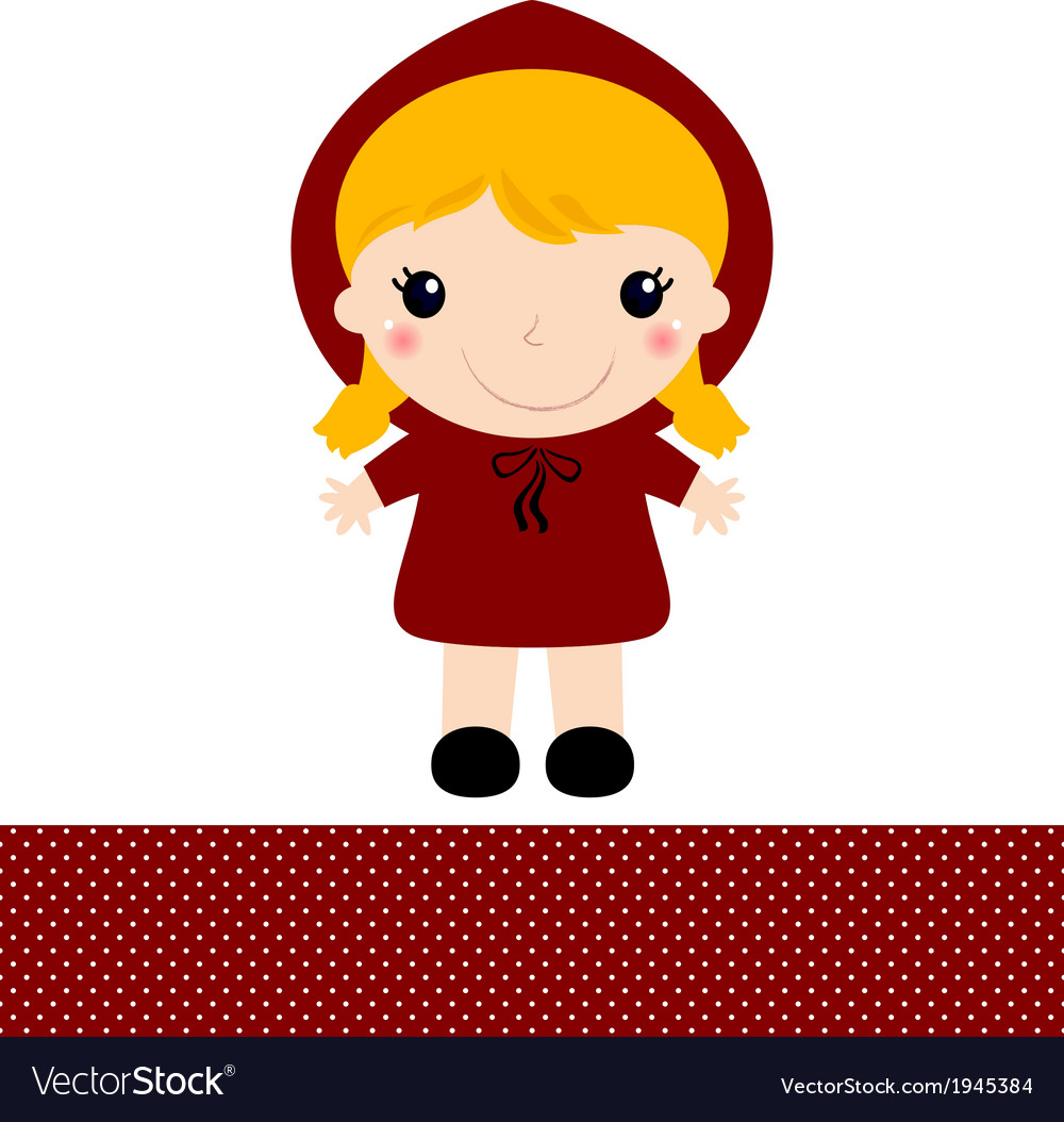 Cute retro red riding hood isolated on white vector | Price: 1 Credit (USD $1)