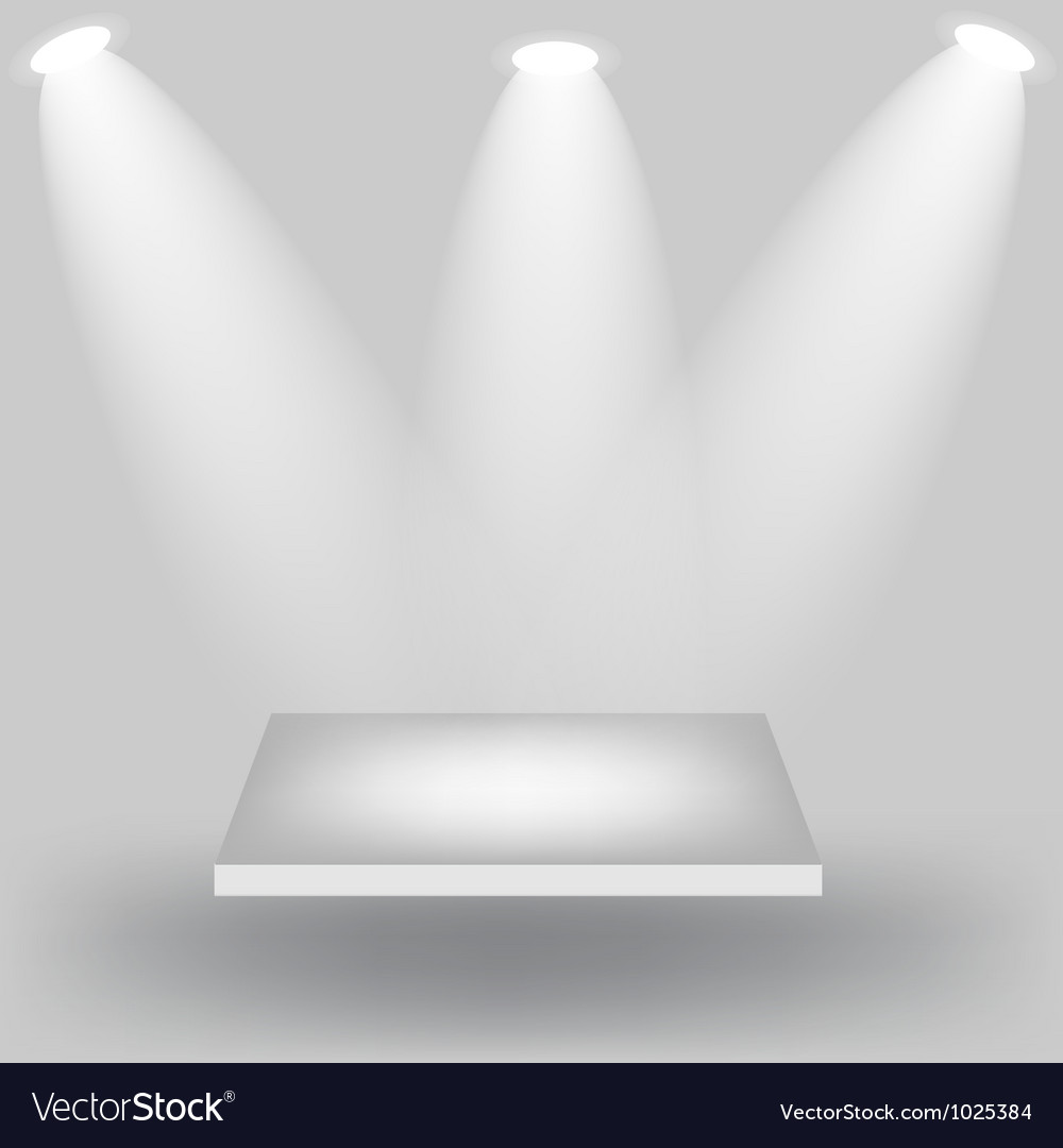 Empty white shelves on light grey background vector   Price: 1 Credit (USD $1)