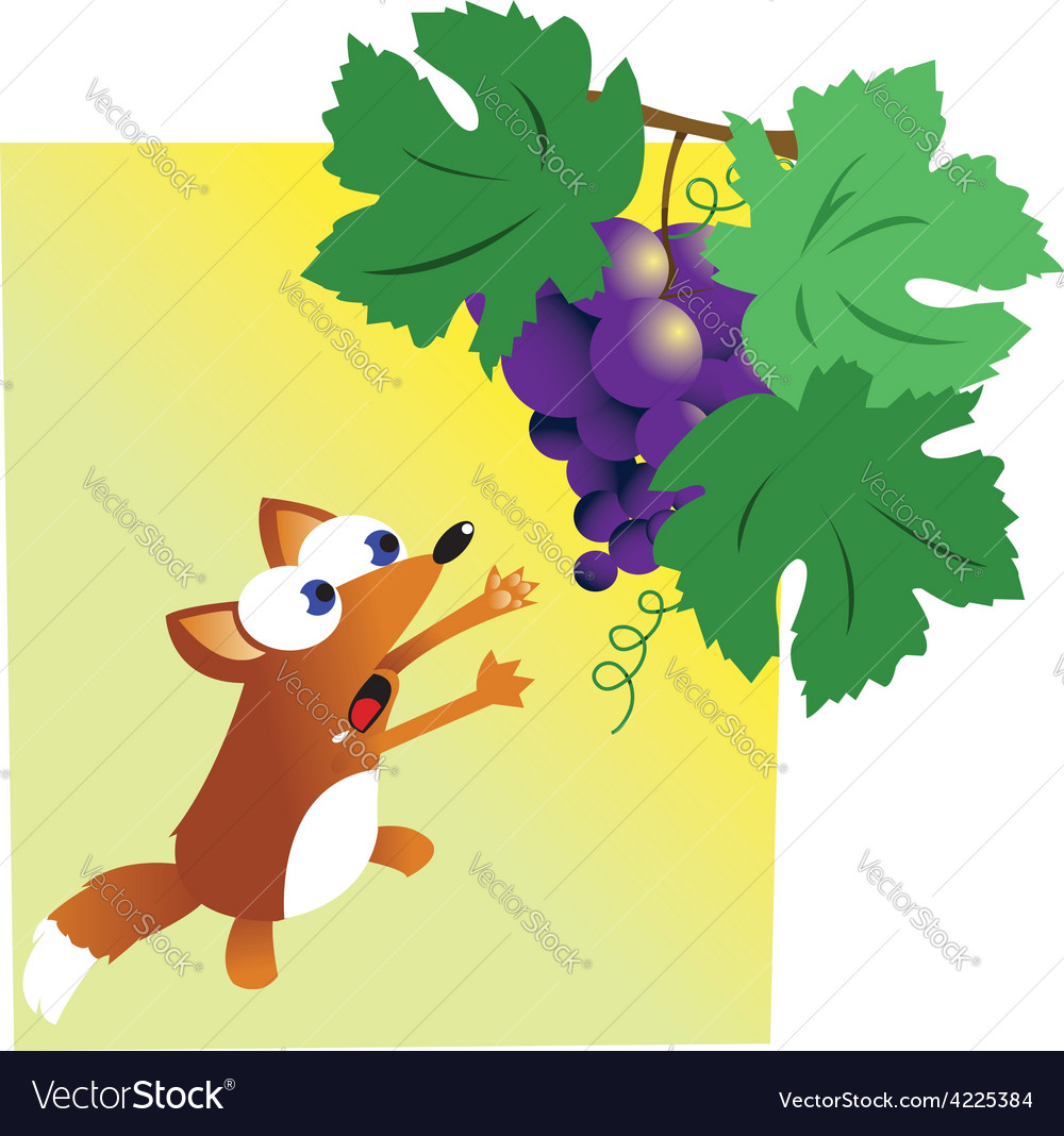 Fox and grapes vector | Price: 1 Credit (USD $1)