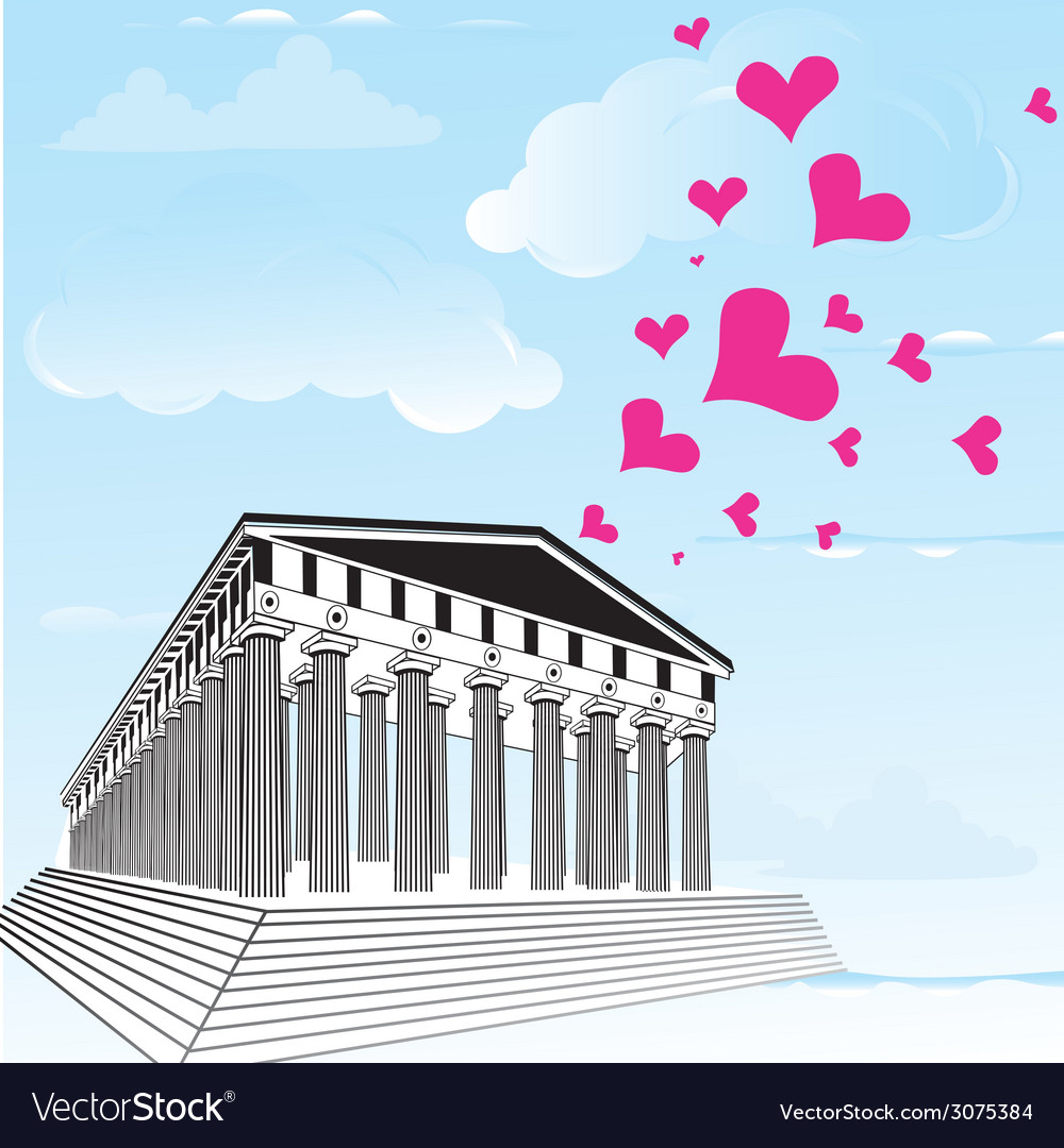 Greece acropolis with heart symbol of valentines d vector | Price: 1 Credit (USD $1)
